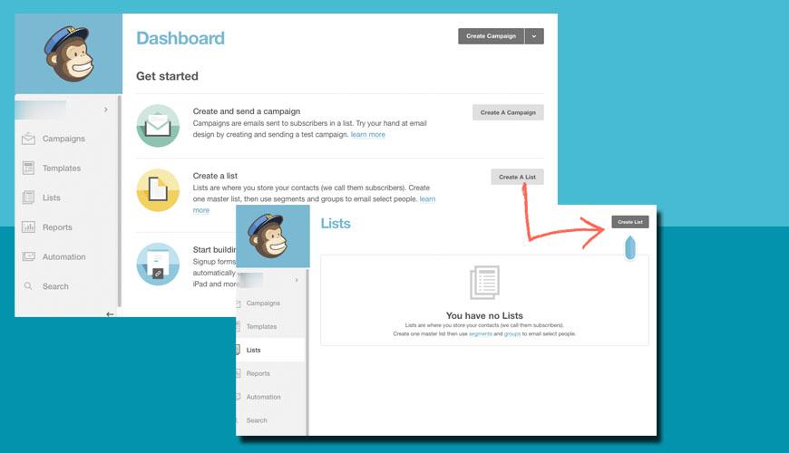 El primer paso es crear una lista en Mailchimp